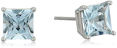 - 10K White Gold Princess cut Aquamarine Stud Earrings, (5mm)