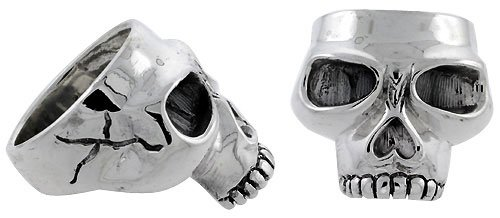 Sterling Silver Gothic Biker Skull Ring, 1 inch wide, size 11 by Sabrina Silver
