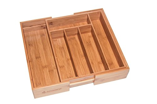 Large 3 inch Deep Expandable Bamboo Wood Cutlery Tray Drawer Utensil Organizer for silverware and cooking utensils with 7 sections - 2 Adjustable parts to fit comfortable in kitchen drawers by Arange
