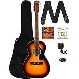 Fender CP-60S Solid Top Parlor Size Acoustic Guitar – Sunburst Bundle with Gig Bag, Tuner, Strap, Strings, Picks, Fender…