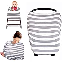 Cubierta para Lactancia Multiusos, Manta para amamantar,funda para portabebés, asientos y bufanda (Rayas Gris)