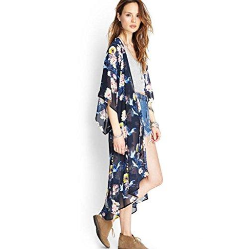 Nouvelle arrivee!!! Amlaiworld Femmes Floral Printed Half Sleeve Chiffon Kimono Cardigan