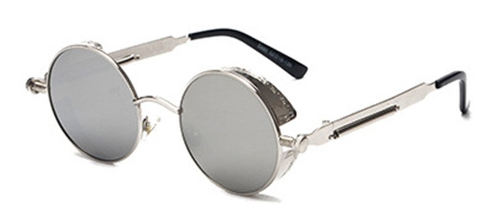 06d8b2e369 Galleon - GAMT Retro Gothic STEAMPUNK Round Sunglasses Metal Frame Mirrored  Circle Lens Silver Frame Silver
