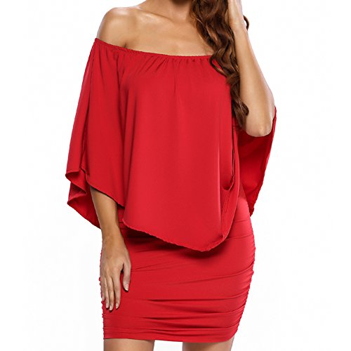 Min Qiao Women's Sexy Off Shoulder Multiple Dress Layered Party Cocktail Mini Dresses (Large, Red)