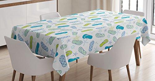 Lunarable Nautical Tablecloth, Flip Flops Beach Swimming Summer Season Inspiration Starfish, Rectangular Table Cover for Dining Room Kitchen Decor, 60