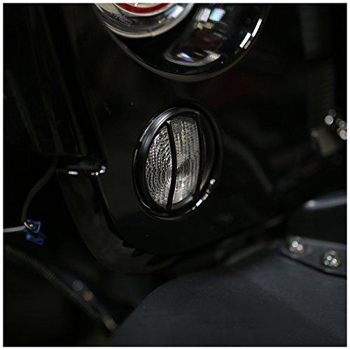 Spec-D Tuning TLS-WRG07BK-JK Jeep Wrangler JK Bumper Corner Signal Lights Protect Guard Cover Trim Pair