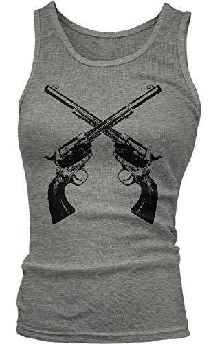 Amdesco Junior's Crossed Guns Revolvers Tank Top, Deep Heather Small