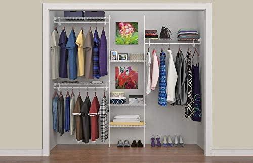 Amazon Com Closetmaid 5636 Superslide 5 Feet To 8 Feet Closet Organizer Kit White Home Kitchen