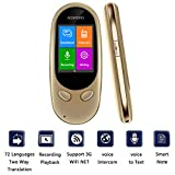 Smart Language Translator Device,72 Languages Online 8 Languages Offline AI Instant Digital Voices Translator Simultaneous Translation Recorder Intercom Device for Tourism Business Learning (Golden)