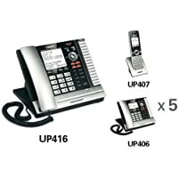 VTech UP416 Corded ErisBusinessSystem Main Console + (5) UP406 Corded Extention Telephones + (1) UP407 Cordless / Wireless Handsets and Chargers