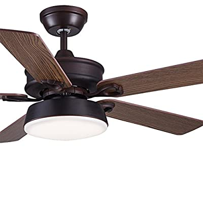 Tropicalfan American Style Rural Vintage Ceiling Fan With One Acrylic Lampshade Home Indoor Restaurant 5 Wood Blade