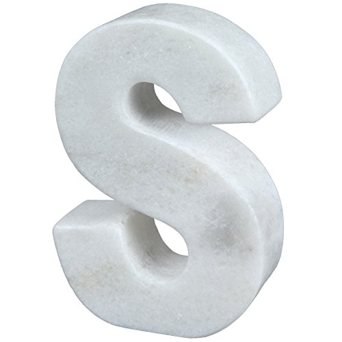 Creative Home Natural Marble Stone Letter S Bookend, Paper Weight, 4