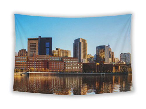 Gear New Wall Tapestry For Bedroom Hanging Art Decor College Dorm Bohemian, Downtown Of St Paul Mn And Mississippi River, - Mn Downtown