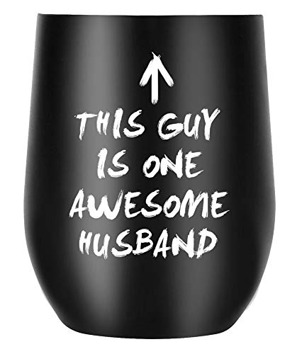 Husband Gifts from Wife Funny Coffee Mug, Hubby Gift Ideas for Valentines Day Birthday Anniversary Christmas, Awesome Husband Insulated Wine Glasses, Unique Present for Him (TU-AWESOME-HUSBAND)