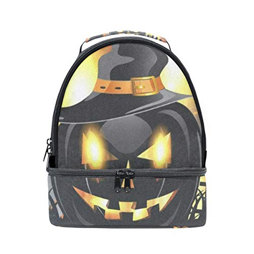 Insulated Lunch Bag Reusable, Black Halloween Pumpkin Sling Shoulder Lunch Tote Travel Picnic Drawstring Bento Cooler Bag Double layer]()