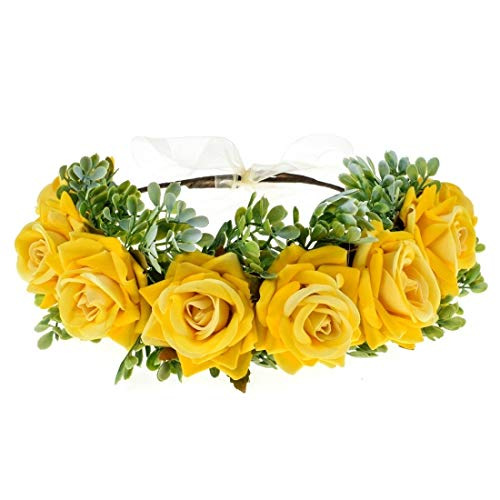Vividsun Flower Crown Floral Headpiece Festival Wedding Hair Wreath Floral Crown (Yellow)