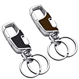 YOUNG4US 2 Pack Stainless Steel Key Chain with Heavy Duty car Home Office Keychain for Men and Women-Black & Brown