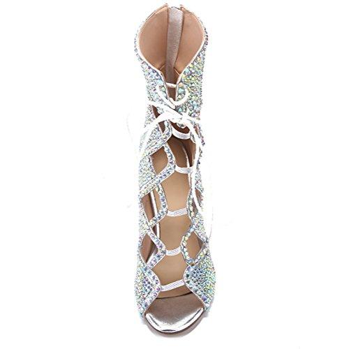Talons PU Hauts Pompes YC Sandales Découpés de Escarpins Toe Silver L Perles Peep Mariage Strass Femmes EqSvtqwxz1
