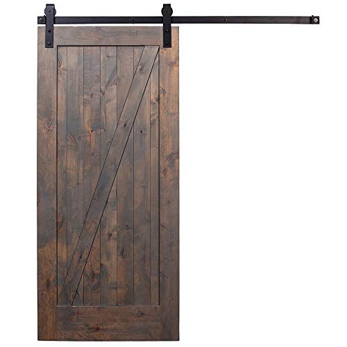 UKN Barn Grey Door Unassembled with Industrial Hardware Black Left Sided Metal Wood Includes