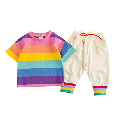 Zlolia Toddler Boys&Girls Rainbow Stripe T-Shirt 2Pcs with Patchwork Stretch Pants Pocket Kids Summer Fashion Outfits