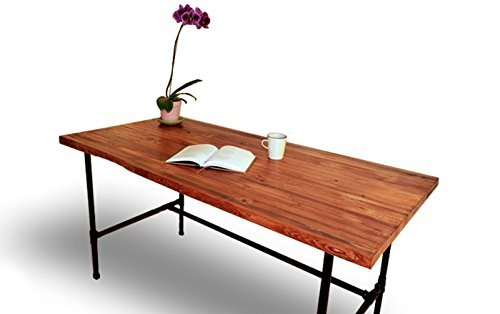 wood desk with black pipe legs solid wood table butcher block table butcher