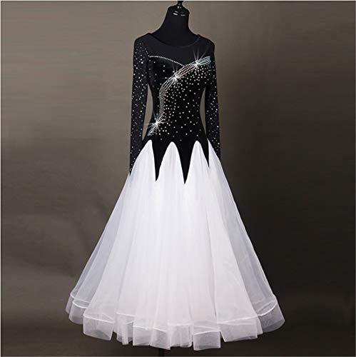 Moderno Concorrenza Nazionale Manica Da Grande Swing Prestazione Ballo Vestito Sala Tango Strass Waltz Dance Danza Donne Standard Lunga Costume R0qwd7R