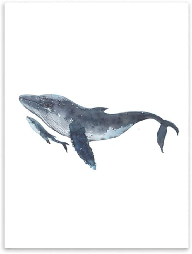 Canvas Artwork Watercolor Whales Decorative Pictures Wall Pictures for Home Decoration Poster Canvas Picture-40x60cm No Frame