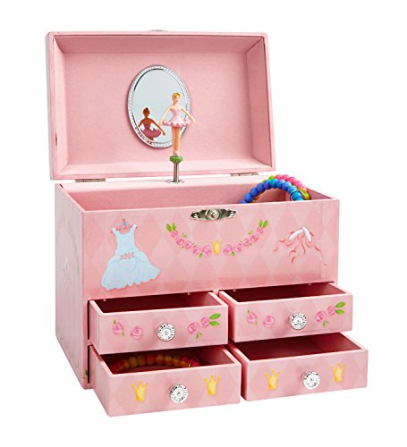 JewelKeeper Pink Diamond and Flowers Large Musical Jewelry Storage Box with 4 Pullout Drawers, Girl's Jewel Box, Swan Lake Tune