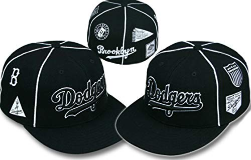 American Needle Los Angeles Dodgers Fitted Hat Cap Size 7 1/8 Black & White All Over Logos - Throwback