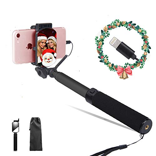 Lepamor Wired Selfie Stick with Mirror for Rear Camera No Battery Charging Portable for iPhone Xs Max, XS, XR, iPhone X,iPhone 8,iPhone7,iPhone 7Plus,iPhone6s,iPhone6s Plus,iPhone6 (BLACK)