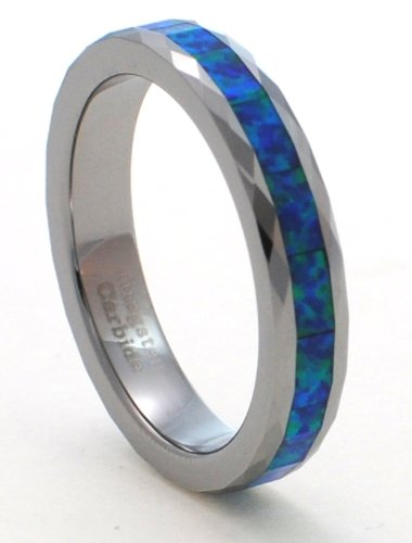 Faceted 4mm Precious Opal Tungsten Carbide Ring with Blue Inlays That Flashes with Blue Fire with a Hint of Green (6) ()