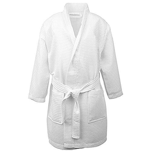 Opromo Kids Waffle Kimono Spa Party Robe Hotel Cotton Bathrobe with Pockets-White-S