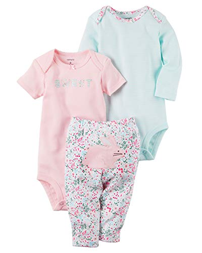 Wizard 2 Embroidery - Carter's Baby Girls' 3 Piece Bunny Set 6 Months