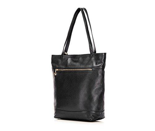 WITTCHEN Borsa elegante, Nero - Dimensione: 35x36cm - Materiale: Pelle di grano -Accomoda A4: Si - 85-4E-504-1
