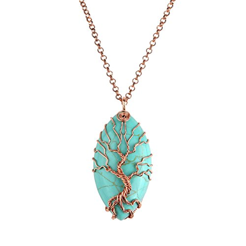 Top Plaza Vintage Copper Tree of Life Wire Wrapped Horse Eye Shape Natural Gemstone Pendant Necklace Chakra Reiki Healing Crystal Jewelry for Women - Synthetic Green Turquoise ()