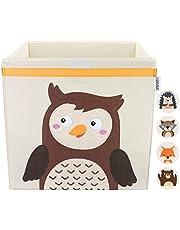 Gelukswolke opbergdoos voor kinderkamer, praktische speelgoedkist met deksel en handgrepen, speelgoeddoos (33 x 33 x 33) voor het opbergen in een kallax-rek, bosdiermotieven voor kinderen