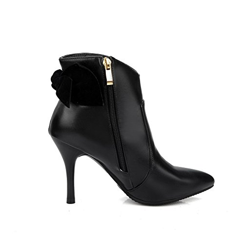Low High Zipper pu Women's Imitated Black Solid Boots AmoonyFashion Heels Suede Top qYP1tW00n