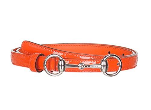 Gucci Women's Orange Leather Horsebit Buckle Skinny Belt, 32, (Horsebit Buckle Belt)