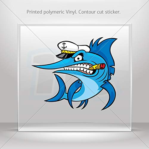 Fishes Various sizes Sticker Captain Marlin Decoration Bike Motorbike Bicycle Vehicle ATV c (10 X 8.51 Inches) ()