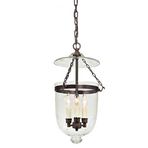 3 Light Medium Bell Jar Foyer Pendant with Star Glass Finish: Oil Rubbed Bronze
