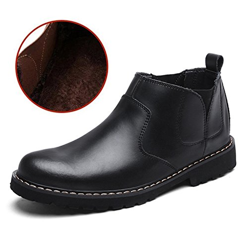 RAINSTAR Mens Cowskin Chelsea Boots Working Shoes Slip On Martin Ankle Bootie Black With Fleece W7f2ei1
