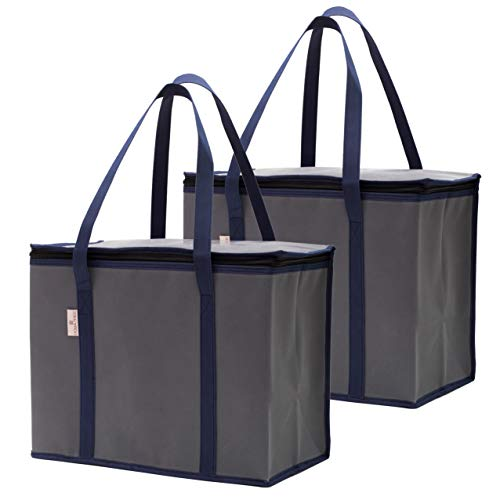 (2-Pack Reusable Insulated Grocery Shopping Bags or Meal Delivery Bags | Eco-Friendly Large Cooler Tote Bag Stands Upright with Zipper and Thermal Interior | For Hot and Cold Food Storage and Transport)