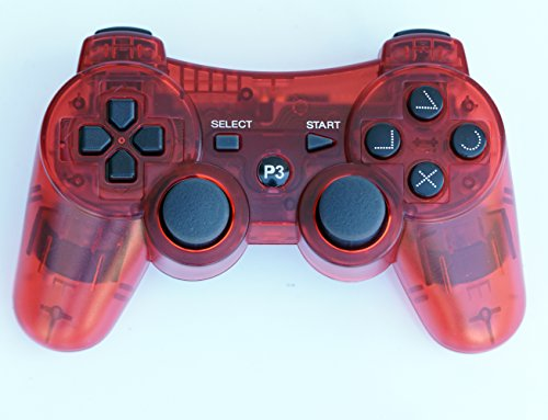 (Fivestar Transparent Wireless Remote PS3 Controller Gamepad for use with PlayStation 3 (Red))