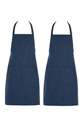 Chama 65%Polyester 35%Cotton Blue Pinstripes Adjustable Neck Strap Long Tie 2 Pockets Bib Apron For Men,Women Chef Baker Cooking Craft Garden Half Aprons for Servers Craftsmen --2 Pack (Blue)