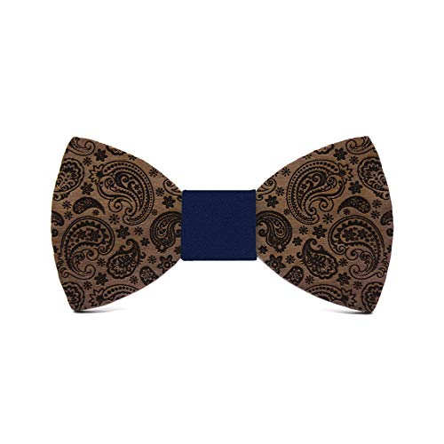 (Wooden bow tie Paisley Cashmere. Fashion collection for men: Wedding & events. Classic design for an elegant and original handmade gift)