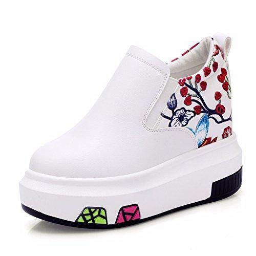 GTVERNH Zapatos de mujer/Verano/10Cm Plataforma Tacón Alto Zapatos Casuales Altura Interior Pedal Zapatos Deportivos blanco
