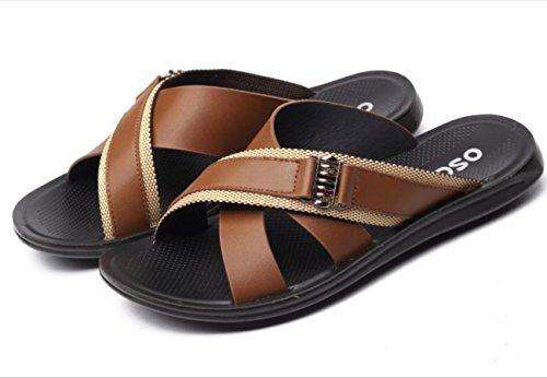 YCMDM degli uomini dei sandali di svago Spiaggia dei pistoni dei pattini impermeabili scarpe morbide Casual , brown , 44