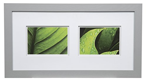 Gallery Solutions Photos 10x20 Flat Grey Wall Frame with Double White Mat for Two 5x7 Pictures, 10