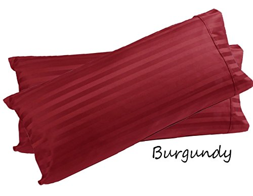 600 Thread Count Best Seller Egyptian Cotton 2-Pieces Pillow Cases ( Color - Burgundy ) , STRIPE Pattern Body ( 20