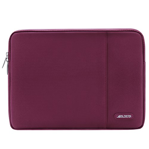 MOSISO Laptop Sleeve Bag Compatible 13-13.3 Inch MacBook Pro, MacBook Air, Notebook Computer, Vertical Style Water Repellent Polyester Protective Case Cover with Pocket, Wine Red
